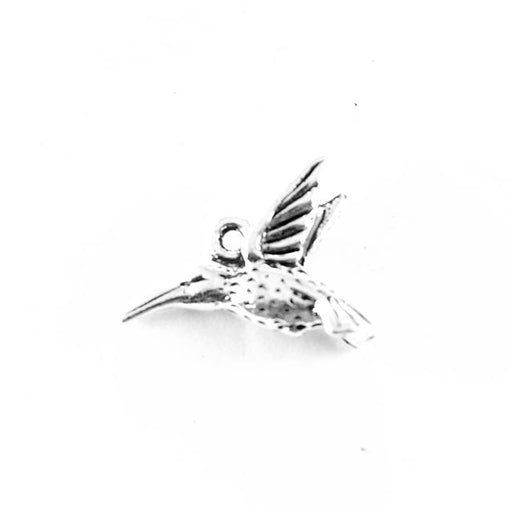 Hummingbird Charm - Antique Silver