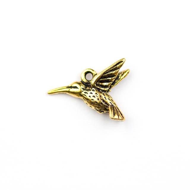 Hummingbird Charm - Antique Gold