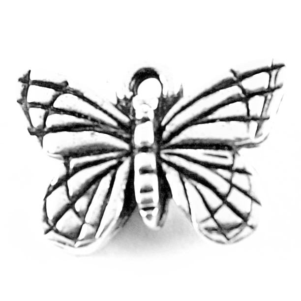 Monarch Butterfly Charm - Antique Silver Plate