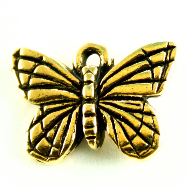 Monarch Butterfly Charm - Antique Gold Plate