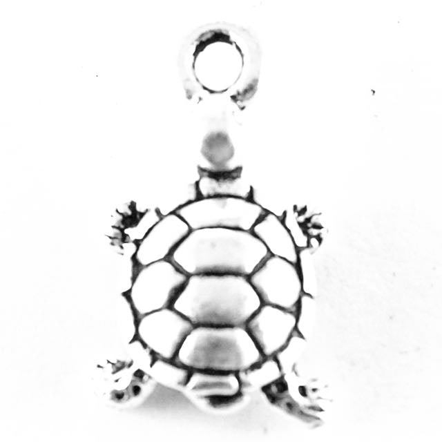 Turtle Charm - Antique Silver Plate