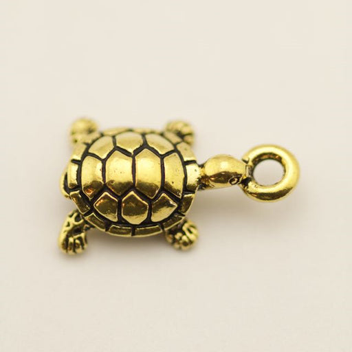 Turtle Charm - Antique Gold Plate