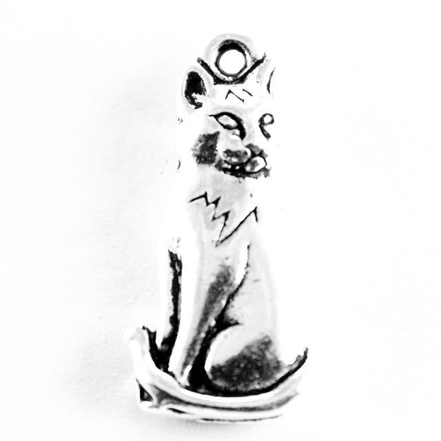 Sitting Cat Charm - Antique Silver