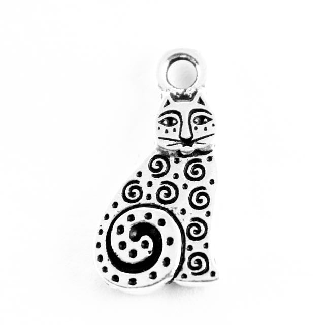 Spiral Cat Charm - Antique Silver Plate