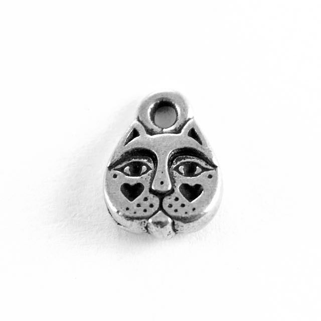 Kittyface Charm - Antique Silver Plate