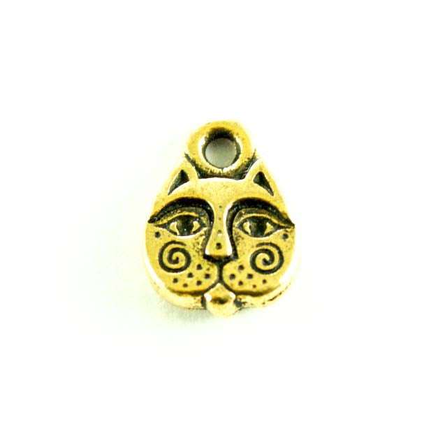 Kittyface Charm - Antique Gold