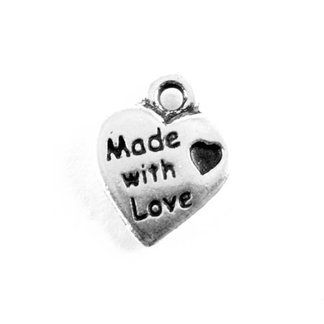 Made With Love Charm - Antique Silver Plate