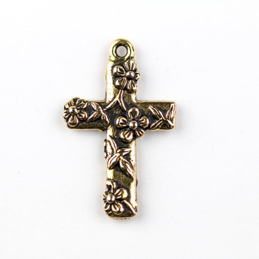Floral Cross Charm - Antique Gold Plate