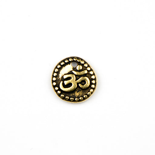 OM Coin Charm - Antique Gold Plate***