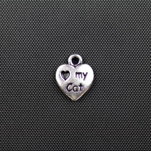 Love My Cat Charm - Antique Silver Plate