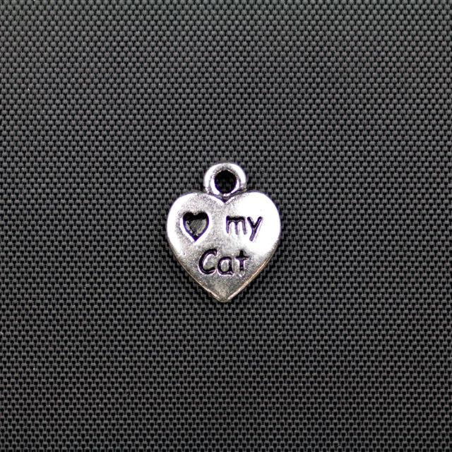 Love My Cat Charm - Antique Silver