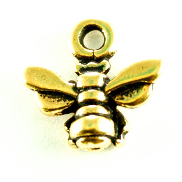 Small Honeybee Charm - Antique Gold