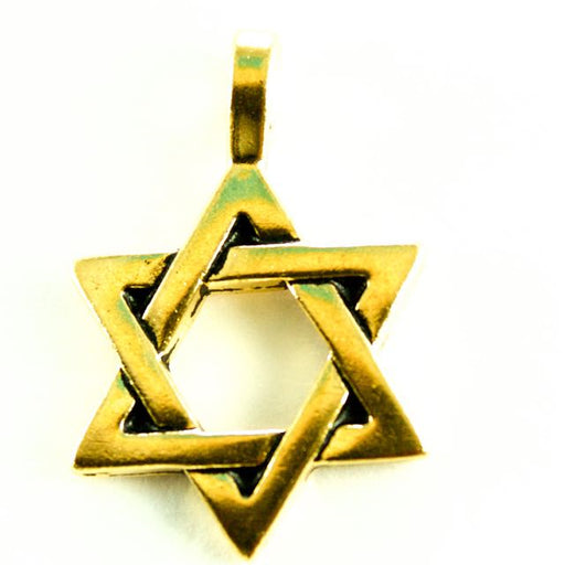 Star of David Charm - Antique Gold Plate