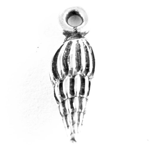 Small Spindle Shell Charm - Antique Silver Plate