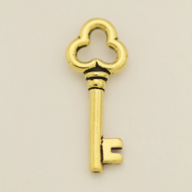 Key Charm - Antique Gold Plate