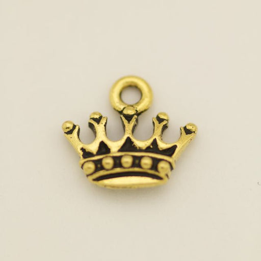 King's Crown Charm - Antique Gold Plate