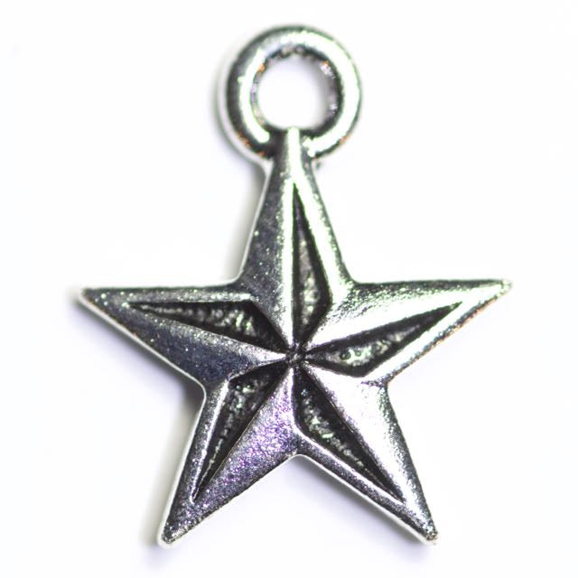 Nautical Star Charm - Antique Silver Plate