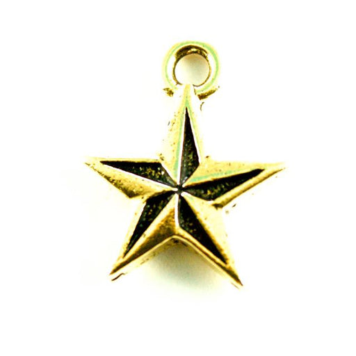 Nautical Star Charm - Antique Gold Plate