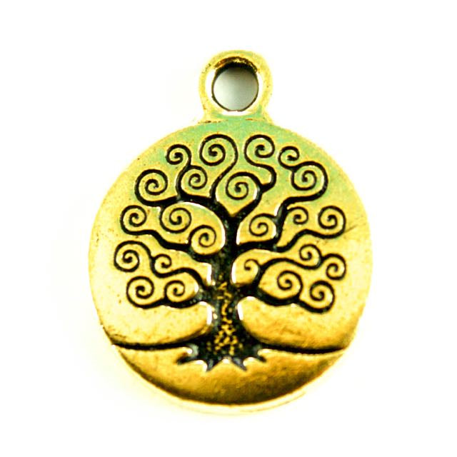 Tree of Life Charm - Antique Gold Plate