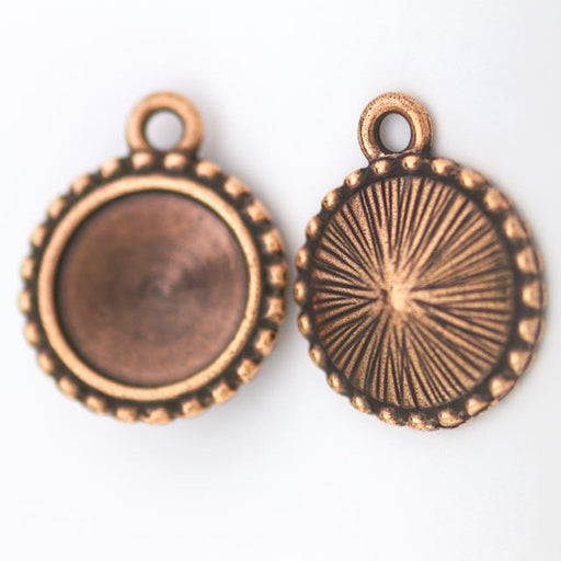 12mm Beaded Round Frame - Antique Copper Plate