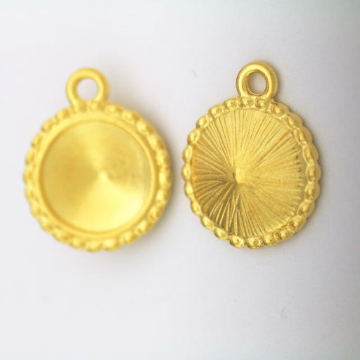 12mm Beaded Round Frame - Bright Gold Plate