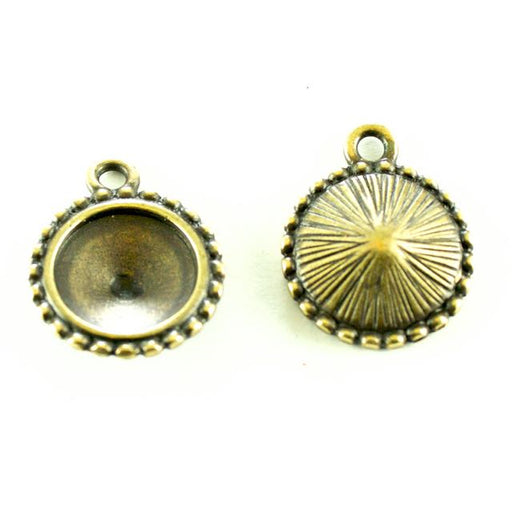 12mm Beaded Round Frame - Oxidized Brass