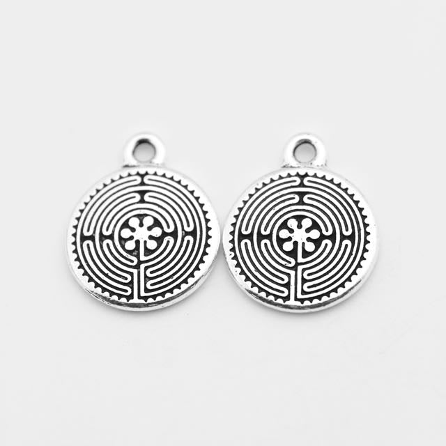 Labyrinth Charm - Antique Silver Plate