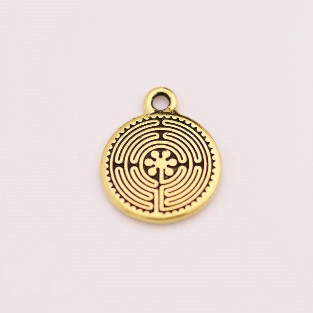 Labyrinth Charm - Antique Gold Plate