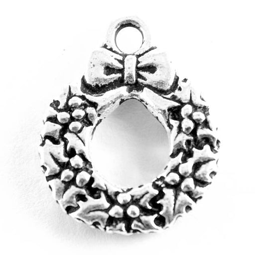 Wreath Charm - Antique Silver Plate