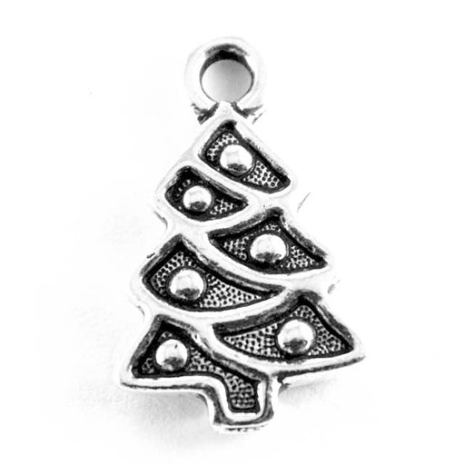 Christmas Tree Charm - Antique Silver Plate
