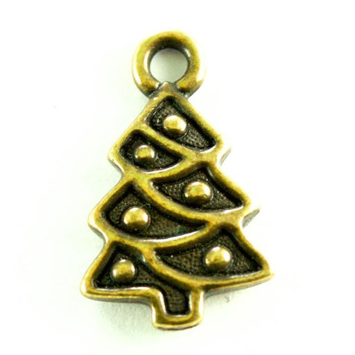 Christmas Tree Charm - Oxidized Brass