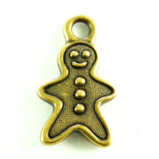 Gingerbread Man Charm - Oxidized Brass