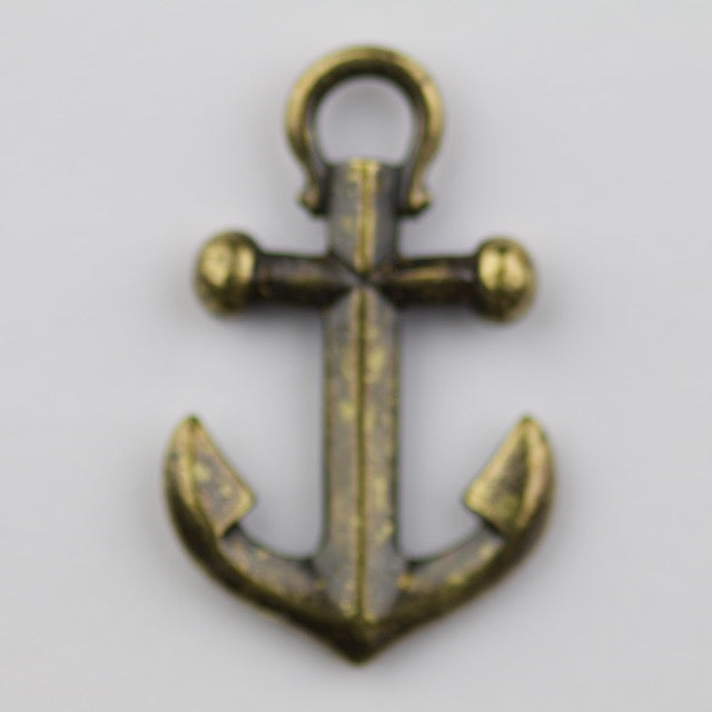 Anchor Charm - Oxidized Brass