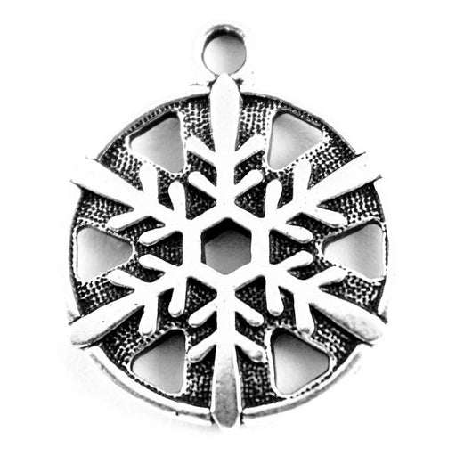 "3/4"" Snowflake Charm - Antique Silver Plate"