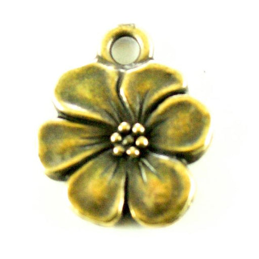 Apple Blossom Charm - Oxidized Brass