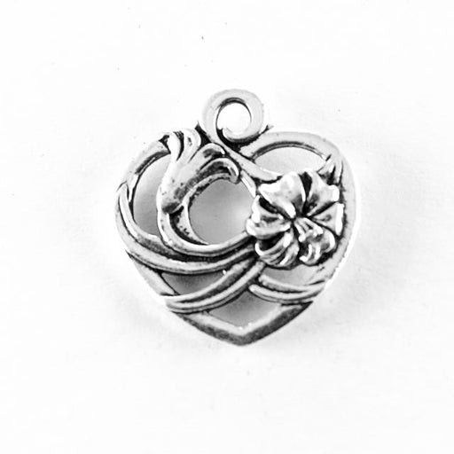 Floral Heart Charm - Antique Silver Plate