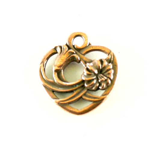 Floral Heart Charm - Antique Copper Plate