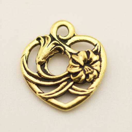 Floral Heart Charm - Antique Gold Plate
