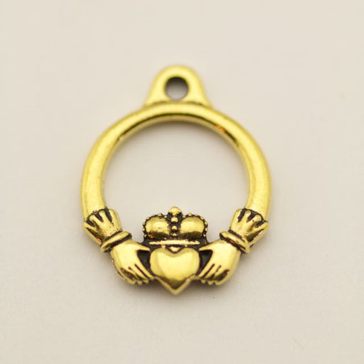 Small Claddagh Charm - Antique Gold Plate
