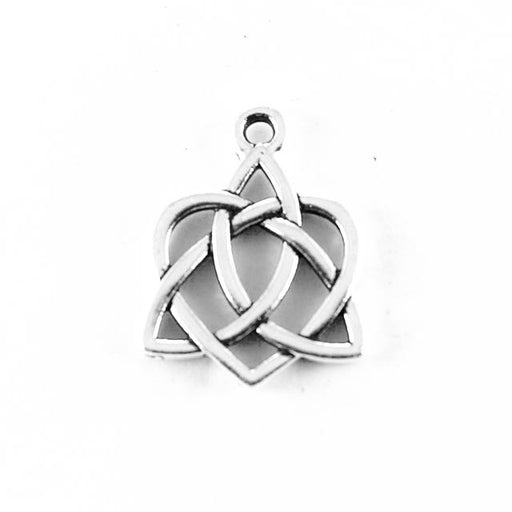 Small Celtic Open Heart Charm - Antique Silver Plate