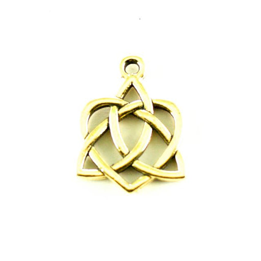 Small Celtic Open Heart Charm - Antique Gold Plate