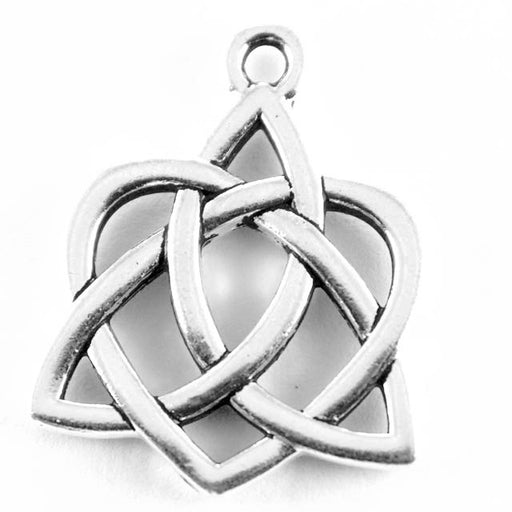 Large Celtic Open Heart Charm - Antique Silver Plate