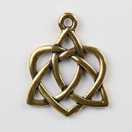 Large Celtic Open Heart Charm - Antique Gold Plate