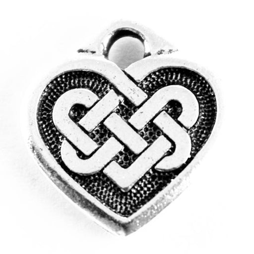 Celtic Heart Charm - Antique Silver Plate