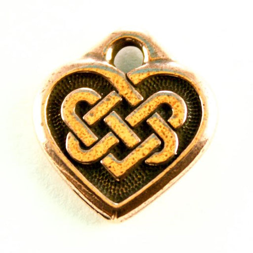 Celtic Heart Charm - Antique Copper Plate