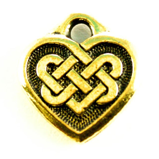 Celtic Heart Charm - Antique Gold Plate