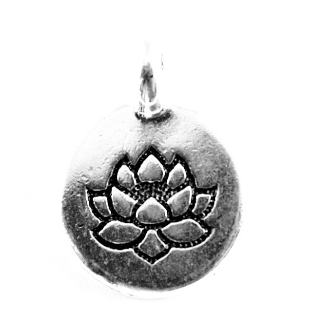 Lotus Charm - Antique Silver Plate