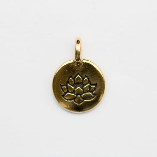 Lotus Charm - Antique Gold Plate