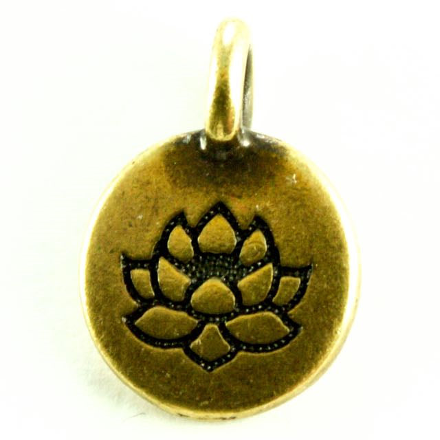 Lotus Charm - Oxidized Brass