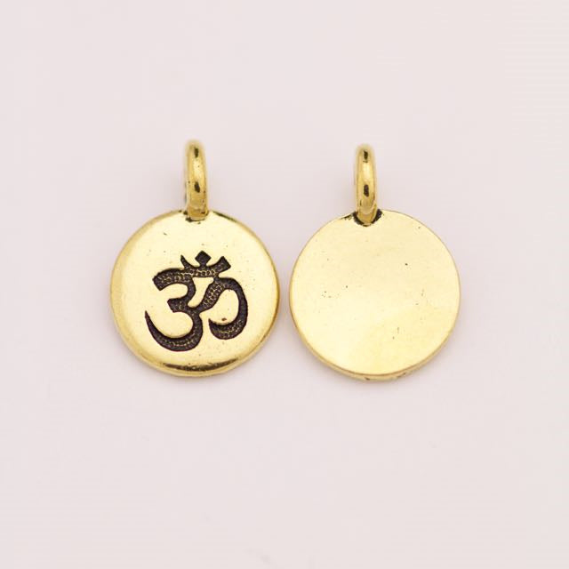OM Charm - Antique Gold Plate